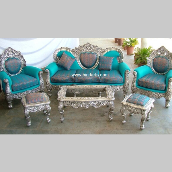 Silver Sofa Set Wooden Metal Sofa  Hind Arts  Indian Swing Wooden Temple